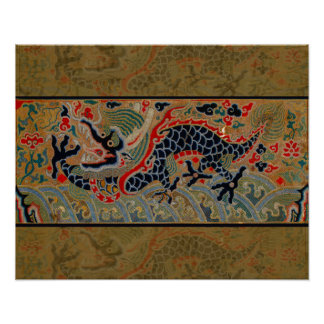 Vintage Chinese Dragon Symbol of Strength Print