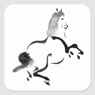 Vintage Chinese Horse Square Sticker