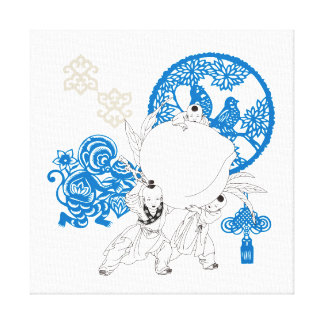 Vintage Chinese Pattern Design Gallery Wrapped Canvas