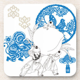 Vintage Chinese Pattern with Monkey and Children Drink Coaster