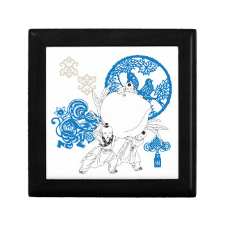 Vintage Chinese Pattern with Monkey and Children Small Square Gift Box