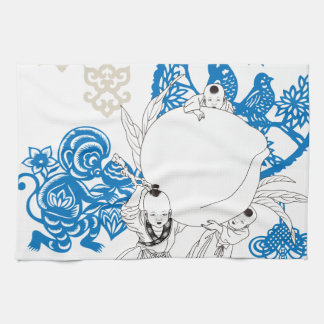 Vintage Chinese Pattern with Monkey and Children Tea Towel