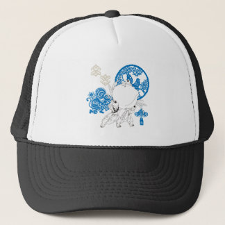 Vintage Chinese Pattern with Monkey and Children Trucker Hat