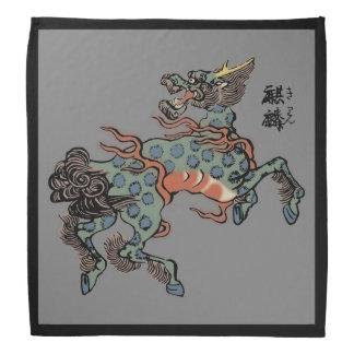 Vintage Chinese Qilin on Medium Gray Bandana