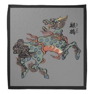 Vintage Chinese Qilin on Medium Gray Bandannas