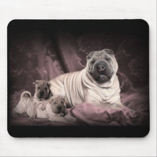 Vintage Chinese Shar Pei Wrinkles, Puppy Dogs Mouse Mat