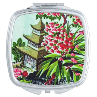 Vintage Chinoiserie Bright Floral Mirror Compact Compact Mirrors