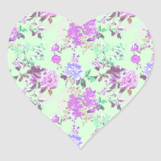 Vintage Chintz Floral Pattern Mint Green Purple Heart Sticker