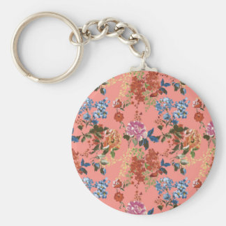 Vintage Chintz Floral Pattern on Coral Background Key Ring