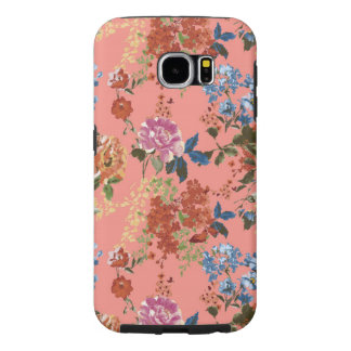 Vintage Chintz Floral Pattern on Coral Background Samsung Galaxy S6 Cases