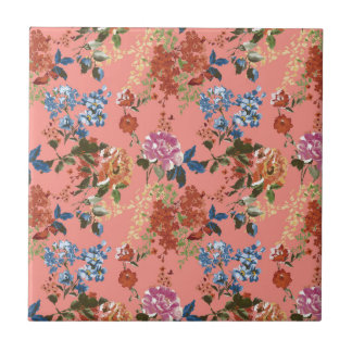Vintage Chintz Floral Pattern on Coral Background Tile