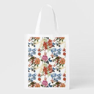 Vintage Chintz Floral Pattern Red Blue Pink Flower Reusable Grocery Bag