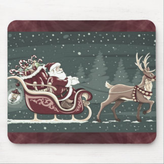 Vintage Chirstmas Santa Claus with sleigh decor Mouse Mat