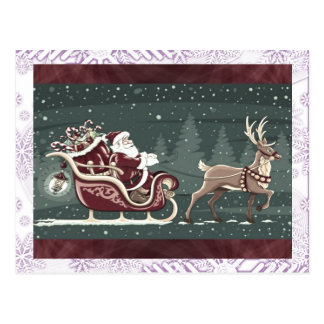 Vintage Chirstmas Santa Claus with sleigh decor Postcard