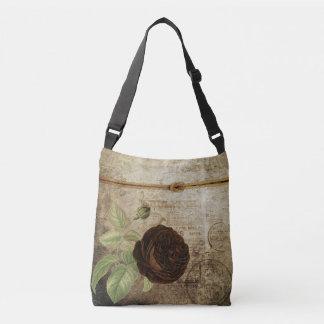 Vintage Chocolate Brown Rose Design Crossbody Bag