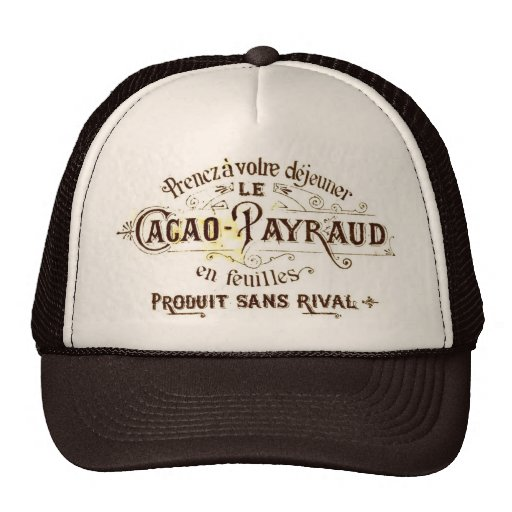 Vintage chocolate cacao advert, retro café grunge trucker hat