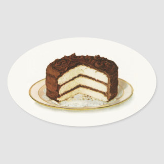 Vintage Chocolate Iced Layer Cake Oval Sticker