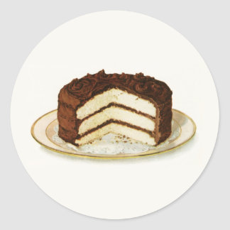 Vintage Chocolate Iced Layer Cake Round Sticker