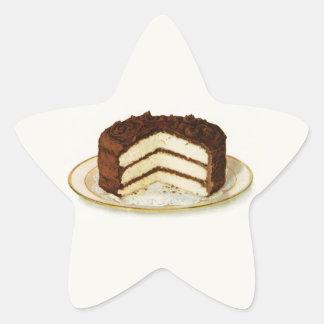 Vintage Chocolate Iced Layer Cake Star Sticker