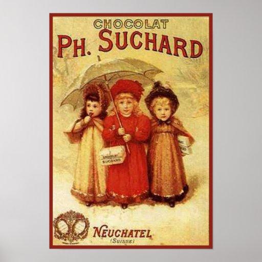 Vintage Chocolate Ph. Suchard Ad Poster