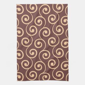 Vintage Chocolate Swirl in Golden Peach Tea Towel