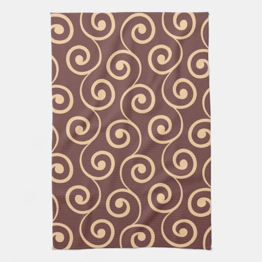 Vintage Chocolate Swirl in Golden Peach Tea Towel