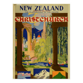 Vintage Christchurch New Zealand Travel Postcard