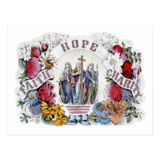 Vintage Christian Art Faith Hope Charity 1874 Postcard