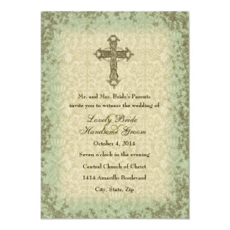 "Vintage Christian Cross Wedding Invitation 5"" X 7"" Invitation Card"