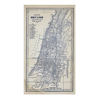 Vintage Christian Holy Land Jerusalem Map Poster