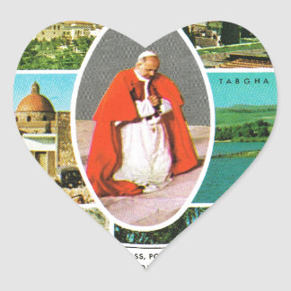 Vintage Christian, Pope Paul VI in the Holy Land Heart Sticker