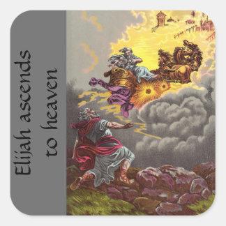 Vintage Christian Sticker-Elijah Going to Heaven Square Sticker