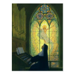 Vintage Christianity, Nun Playing Music in Church Postcard