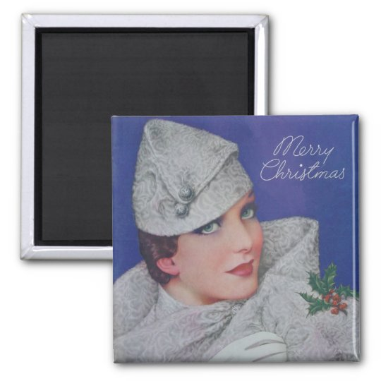 Vintage Christmas 1933 Square Magnet