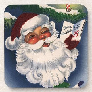 Vintage Christmas, 50s Retro Jolly Santa Claus Coaster