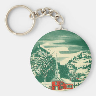 Vintage Christmas, a Church Snowscape in Winter Basic Round Button Key Ring