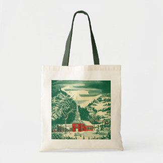 Vintage Christmas, a Church Snowscape in Winter Budget Tote Bag