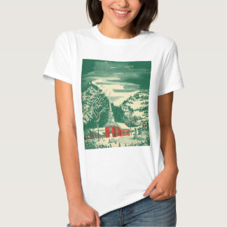 Vintage Christmas, a Church Snowscape in Winter T-shirt