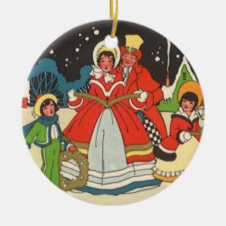 Vintage Christmas, a Family Singing Music Carols Round Ceramic Decoration