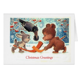Vintage Christmas, A game of ice hockey Greeting Card