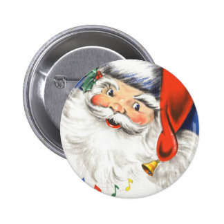 Vintage Christmas, a Jolly Santa Claus w Music 6 Cm Round Badge