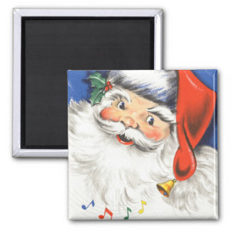 Vintage Christmas, a Jolly Santa Claus w Music Square Magnet