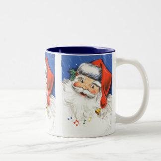 Vintage Christmas, a Jolly Santa Claus w Music Two-Tone Coffee Mug