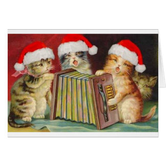 Vintage Christmas Accordian Cats Greeting Card