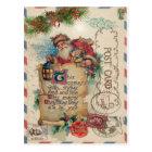 Vintage Christmas Airmail Postcard Santa Claus
