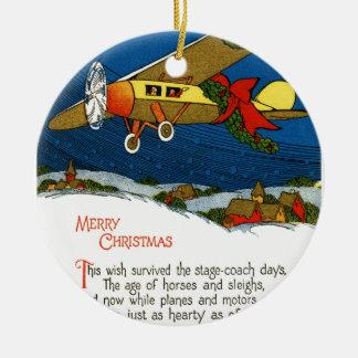 Vintage Christmas Airplane Christmas Ornament