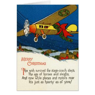 Vintage Christmas Airplane Greeting Card