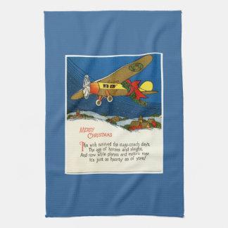 Vintage Christmas Airplane Tea Towel