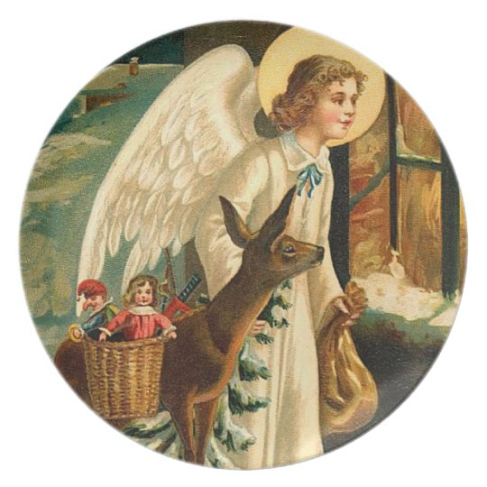 Vintage Christmas Angel and Deer Plate