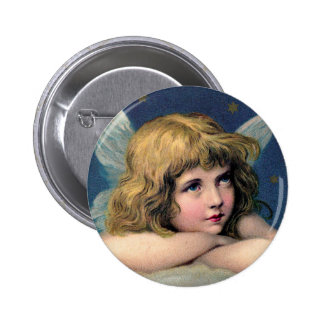 Vintage Christmas Angel and Gold Stars 6 Cm Round Badge